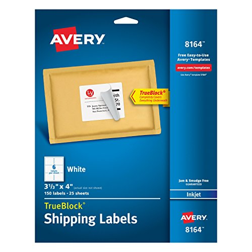 Avery Shipping Labels With TrueBlock Technology For Inkjet Printers 3 1 X 4 Pack Of 150 8164