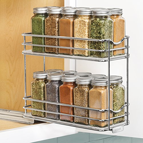 Lynk Professional Pull Out Two Tier Spice Rack Slide Out Cabinet Organizer