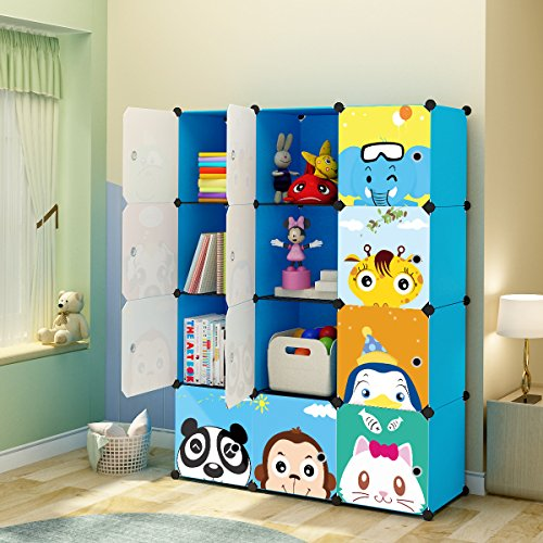 Strong ... & KOUSI Kidsu0027 Toy Storage Organizer Bookcase 12 Storage Cube Blue ...