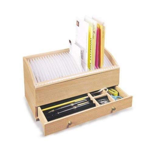 Natural Wood Space Saver for Letters - Wooden Bill Organizer - Space Saver with Compartments and ...